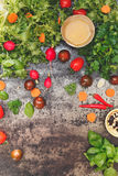 Salad ingredients and seasonings Royalty Free Stock Photos