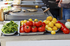 Salad ingredients in traditional Turkish fast food restaurant ,k Stock Photography