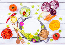 Salad ingredients vegetables top view. Royalty Free Stock Photos