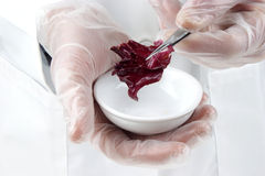 Salad is investigated in the food laboratory Royalty Free Stock Image