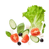 Salad Isolated In White, Top View Royalty Free Stock Image