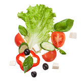 Salad isolated in white, top view Stock Photo