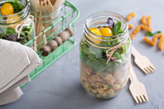 Salad in a jar food to go Royalty Free Stock Photo