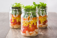 Salad in jar Stock Photos
