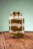 Salad jar on a wooden table Royalty Free Stock Photo