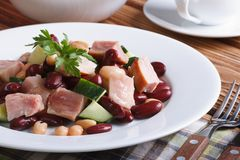 Salad with kidney beans, chicken and cucumber horizontal Royalty Free Stock Photo