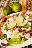 Salad with king prawns Stock Image