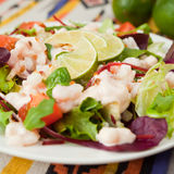 Salad with king prawns Stock Photo