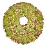 Salad of kiwi, walnuts and yogurt Stock Images