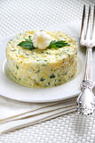 Salad with krill meat. Canned pineapple, eggs, cheese, parsley and mayonnaise Royalty Free Stock Photos