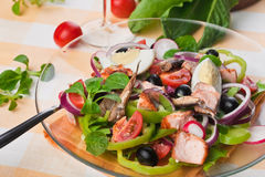 Salad a la Nicoise with salmon Stock Images