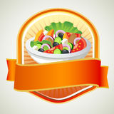 Salad label. Label with full bowl of salad with ribbon Stock Image