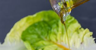 Salad leaf is dripped with oil royalty free stock images