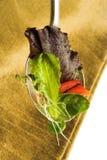 Salad leaves on spoon Stock Photo