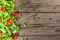 Salad leaves and tomatoes Royalty Free Stock Image