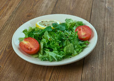 Salad from leaves of wild radish. Turp otu salad - Spring salad from leaves of wild radish with garlic. Turkish cuisine royalty free stock photography