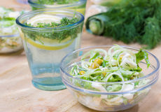 Salad and lemonade Stock Photography