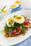 Salad with lentil and eggs Stock Photo