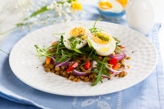 Salad with lentil and eggs Royalty Free Stock Photography