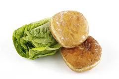 Salad Lettace And Jam Doughnut Royalty Free Stock Photos