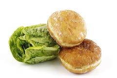 Salad Lettace And Jam Doughnut Stock Photos