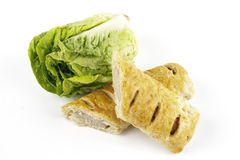 Salad Lettace and Sausage Roll royalty free stock images