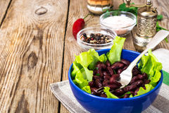 Salad with lettuce and beans royalty free stock photos