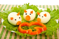 Salad from lettuce and egg. Carved salad from lettuce and eggs royalty free stock photography