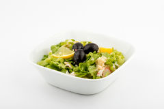 Salad of lettuce. Lettuce salad. Front view Selective focus White background stock photography