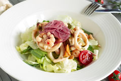 Salad Lettuce Seafood Red Onion Royalty Free Stock Image