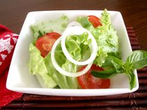 Salad of lettuce and tomato. With onion rings royalty free stock images