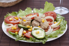 Salad with lettuce tomato cucumber onion Stock Photography