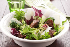 Salad with liver. Fresh salad with liver of chicken and balsamic vinegar Royalty Free Stock Photos