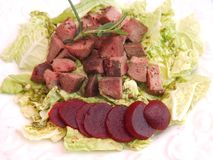Salad with liver and beetroot Royalty Free Stock Images