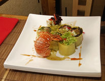 Salad with lobster. Asian sush stock image