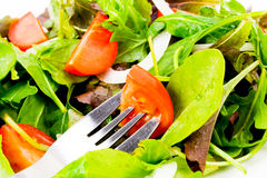 Salad lunch. A plate of fresh salad with fork at the ready stock photo