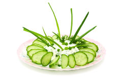 Salad made cottage cheese and green vegetables Stock Photos