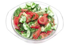Salad made of fresh tomatoes Stock Photos