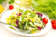 Salad made of fresh vegetables with oil Stock Photo