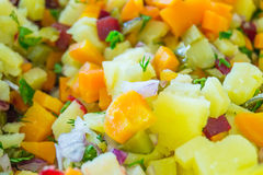 Salad made of potatoes, carrots, beat, parsley and onion cut in pieces Stock Image