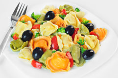 Salad made with tortellini, olives, broccoli, red pepper, on a plate. With a fork, white background Stock Photography