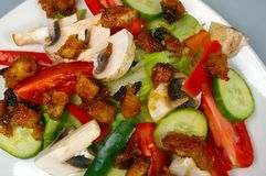 Salad with mango chutney croutons Stock Image