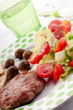 Salad and meat. Lunch with fresh salad and meat Royalty Free Stock Image