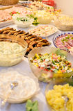 Salad and meat buffet Royalty Free Stock Photography