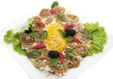 Salad with meat and cheese Royalty Free Stock Images