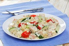 Salad with meat, cucumber, tomato, cheese, omelette Royalty Free Stock Photography