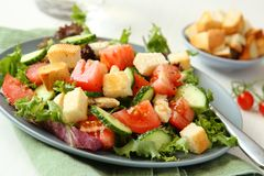 Salad with meat, cucumbers, tomatoes and croutons Royalty Free Stock Image