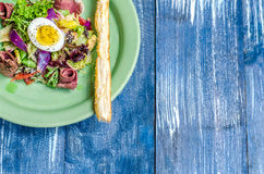 Salad of meat, eggs, onions and herbs, bread stick on a green plate, stand stock image