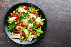 Salad with meat. Fresh vegetable salad with baked meat. Meat salad with fresh vegetables royalty free stock photos