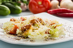 Salad with meat. grilled beef tongue Stock Photo